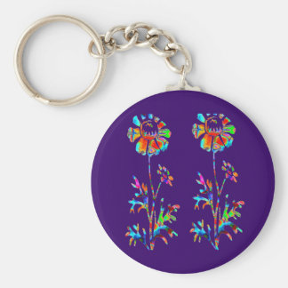 Sparkling Flowers Basic Round Button Key Ring