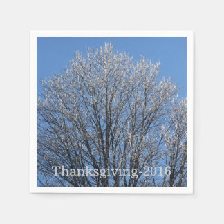 Sparkling Frost Covered Trees Paper Napkins