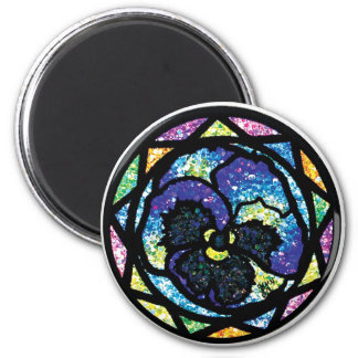 Sparkling Glitter Blue Pansy 6 Cm Round Magnet