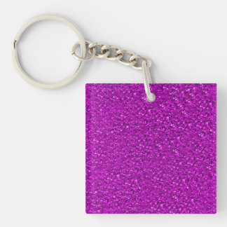 sparkling glitter hot pink Double-Sided square acrylic key ring