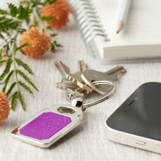 sparkling glitter hot pink Silver-Colored rectangle key ring