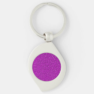 sparkling glitter hot pink Silver-Colored swirl key ring