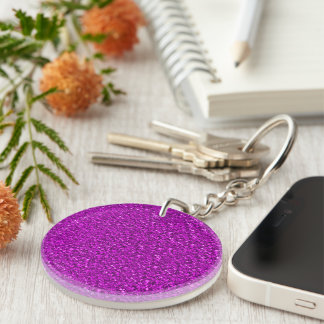 sparkling glitter hot pink Single-Sided round acrylic key ring