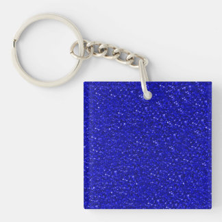 sparkling glitter inky blue Double-Sided square acrylic key ring