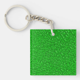 sparkling glitter neon green Double-Sided square acrylic key ring