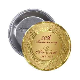Sparkling Gold 50th Wedding Anniversary 6 Cm Round Badge