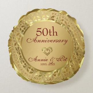 Sparkling Gold 50th Wedding Anniversary Round Cushion
