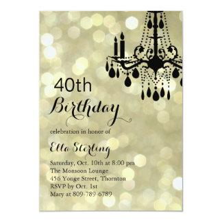 Sparkling Gold Ballroom 40th Birthday Invitation