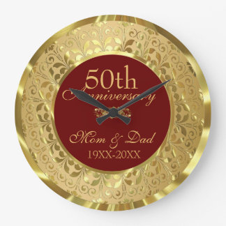 Sparkling Gold Damask 50th Wedding Anniversary Large Clock