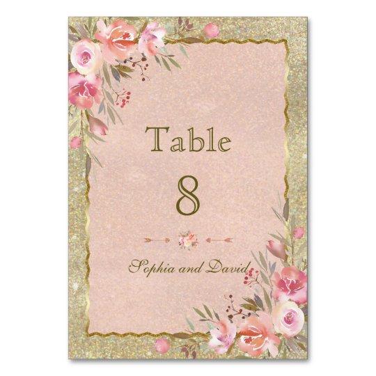 Sparkling Gold Glitter Blush Floral Table Number