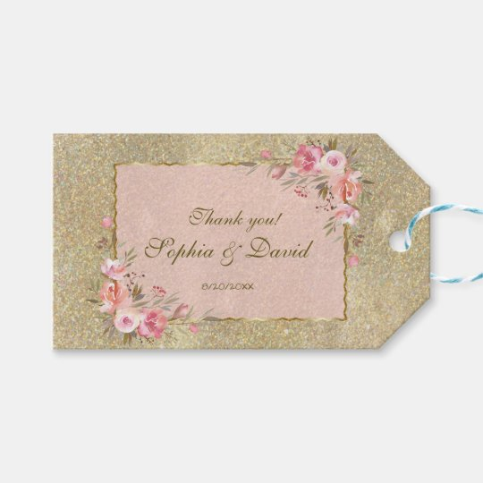 Sparkling Gold Glitter Blush Floral Wedding Gift Tags