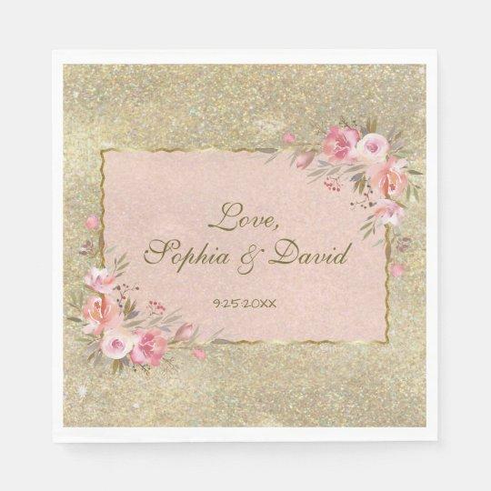 Sparkling Gold Glitter Blush Floral Wedding Paper Napkin