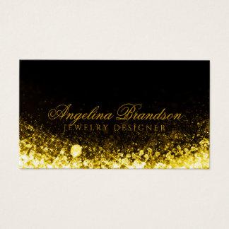Sparkling Gold Jeweller Jewellery Designer Black Business Card