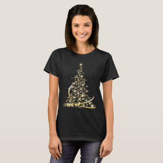 Sparkling gold merry Christmas tree T-Shirt