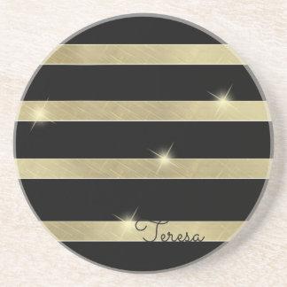 Sparkling Gold Stripe ID285 Coasters