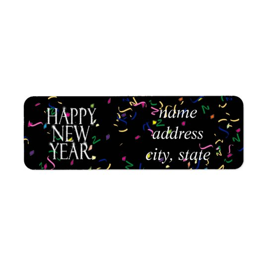 Sparkling Happy New Year Return Address Label