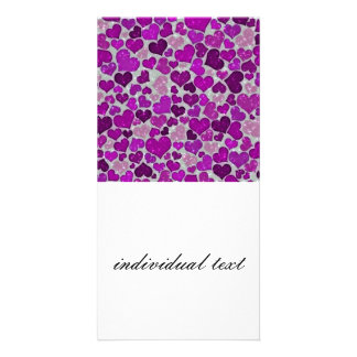 sparkling hearts purple picture card