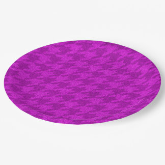 sparkling houndstooth pink (I) 9 Inch Paper Plate