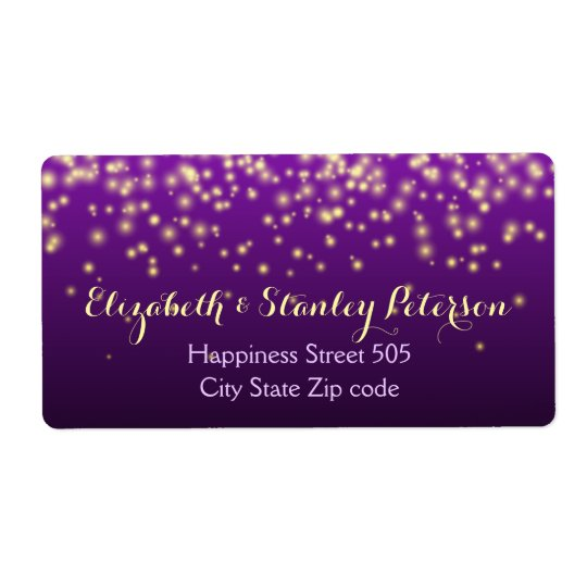 Sparkling lights in the sky purple wedding