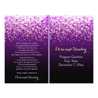 Sparkling lights in the sky purple wedding program 21.5 cm x 28 cm flyer