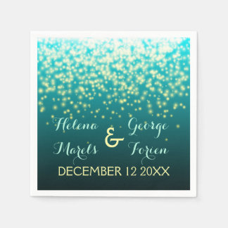 Sparkling lights in the sky teal, aqua wedding paper serviettes