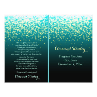 Sparkling lights in the sky teal, wedding program 21.5 cm x 28 cm flyer