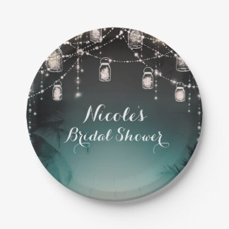 Sparkling Lights Palm Trees Elegant Beach Wedding Paper Plate