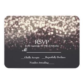 Sparkling Lights Romantic Grey Modern Wedding RSVP 9 Cm X 13 Cm Invitation Card