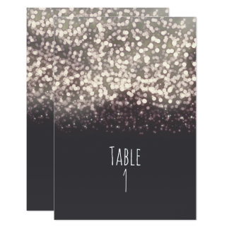 Sparkling Lights Romantic Grey Wedding Table Card 9 Cm X 13 Cm Invitation Card