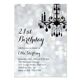 Sparkling Lights Silver Ballroom Birthday Invite
