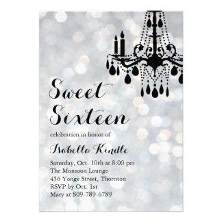 Sparkling Lights Silver Ballroom Sweet 16 Invite