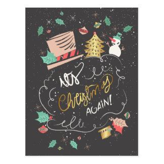 Sparkling Merry Christmas hand drawn rustic Postcard