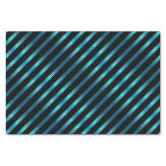 Sparkling Metallic Blue Diagonal Stripes Tissue Paper