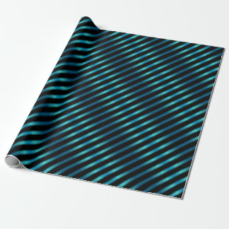 Sparkling Metallic Blue Diagonal Stripes Wrapping Paper