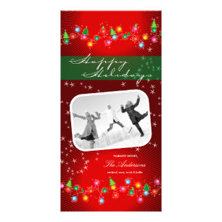Sparkling Mini Christmas Ornaments Holiday Card Custom Photo Card