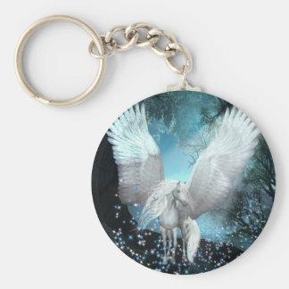 Sparkling Pegasus Basic Round Button Key Ring
