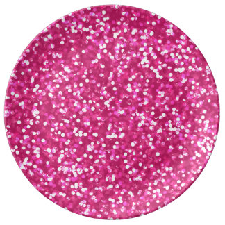 Sparkling Pink Glitter Plate