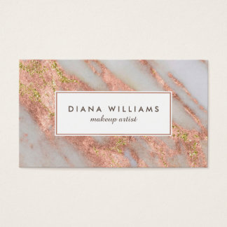 Sparkling Pink Marble Abstract Makeup Artist Business Card