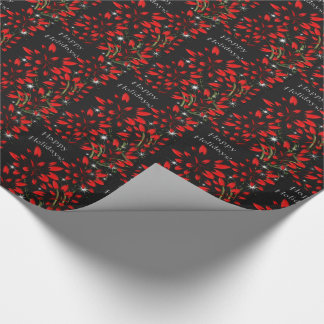 Sparkling Poinsettia Fireworks Wrapping Paper