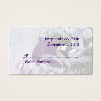 Sparkling Purple Ornaments Wedding Place Cards