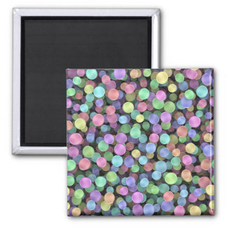 Sparkling Rainbow Polka Dots Square Magnet