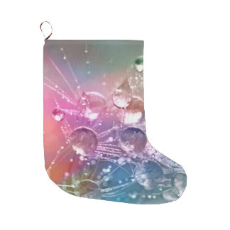 Sparkling Rainbow Water Drops Large Christmas Stocking