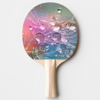 Sparkling Rainbow Water Drops Ping Pong Paddle