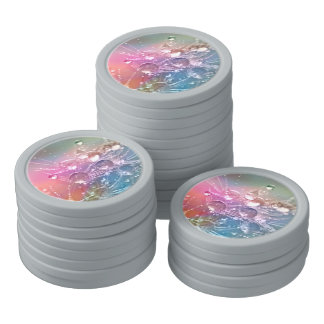 Sparkling Rainbow Water Drops Poker Chips
