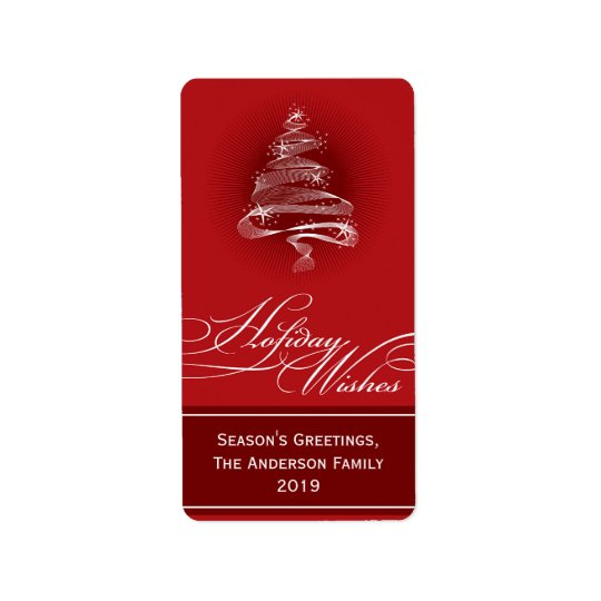 Sparkling Red Christmas Tree Swirls Holiday Gift T Label