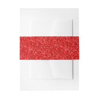 Sparkling Red Glitter Invitation Belly Band