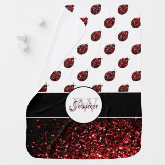 Sparkling red sparkles Ladybird Ladybug Monogram Baby Blanket