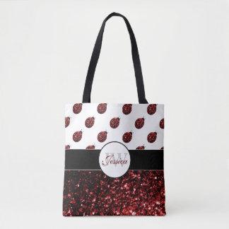 Sparkling red sparkles Ladybird Ladybug Monogram Tote Bag