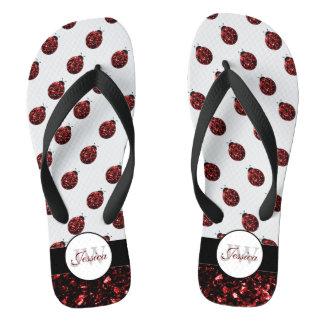 Sparkling red sparkles Ladybug pattern Monogram Thongs