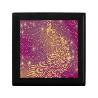 Sparkling Red & Yellow Peacock Gift Box